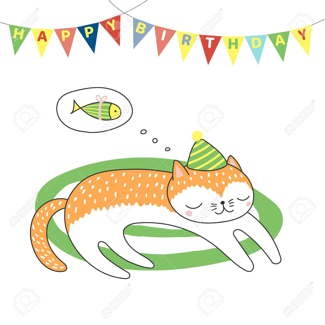 Hand drawn happy birthday greeting card with cute funny cartoon hand drawn happy birthday greeting card with cute funny cartoon cat sleeping on a rug m4hsunfo