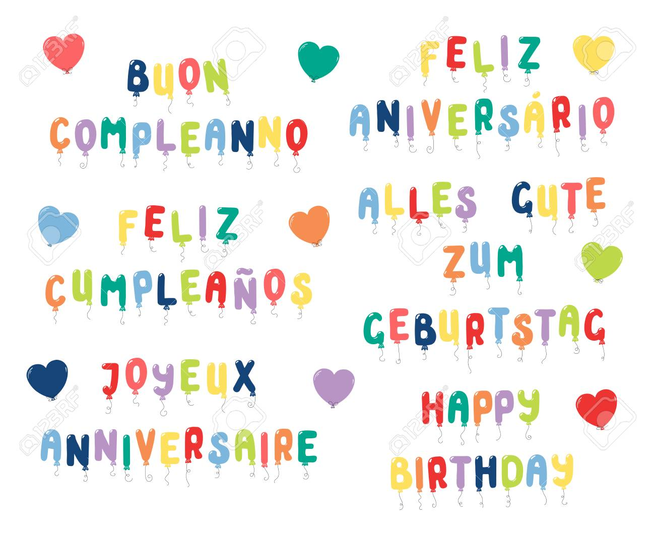Set Of Happy Birthday Quotes Made Of Balloons In English Spanish