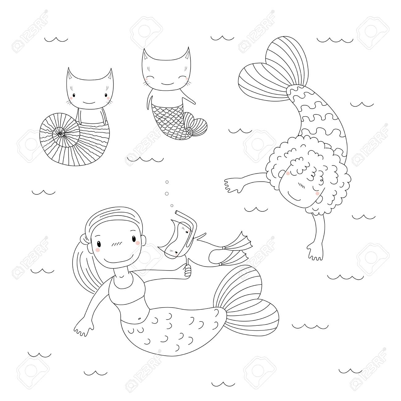 Hand Drawn Black And White Vector Illustration Of Cute Little ...