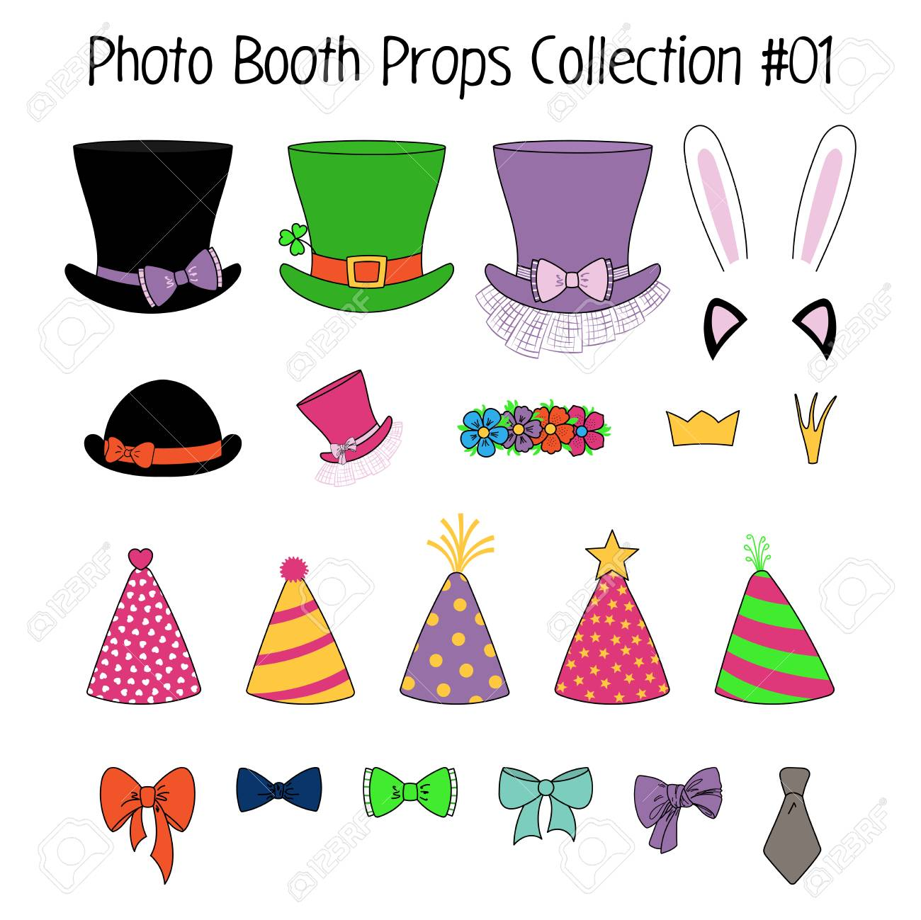 Set Of Hand Drawn Cartoon Photo Booth Props With Top Hats Party