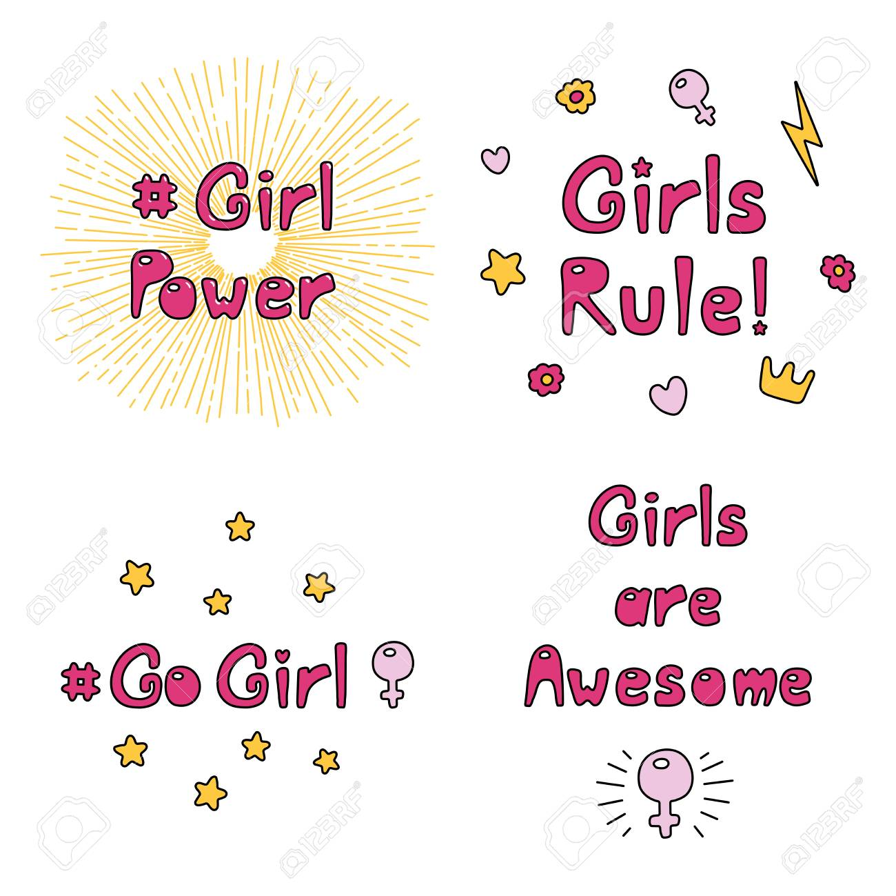 Sun Rays Quotes   Set Of Hand Drawn Quotes About Girl Power Feminism With Sun
