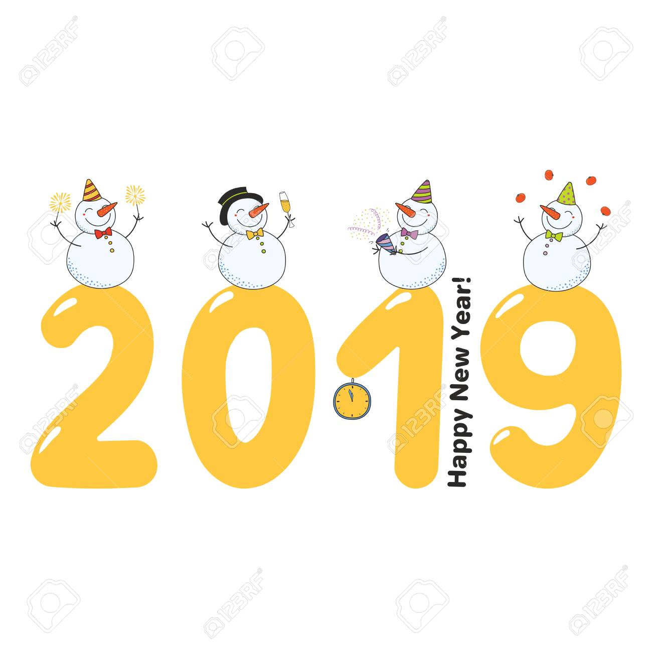Hand Drawn Happy New Year 2019 Greeting Card, Banner Template ...