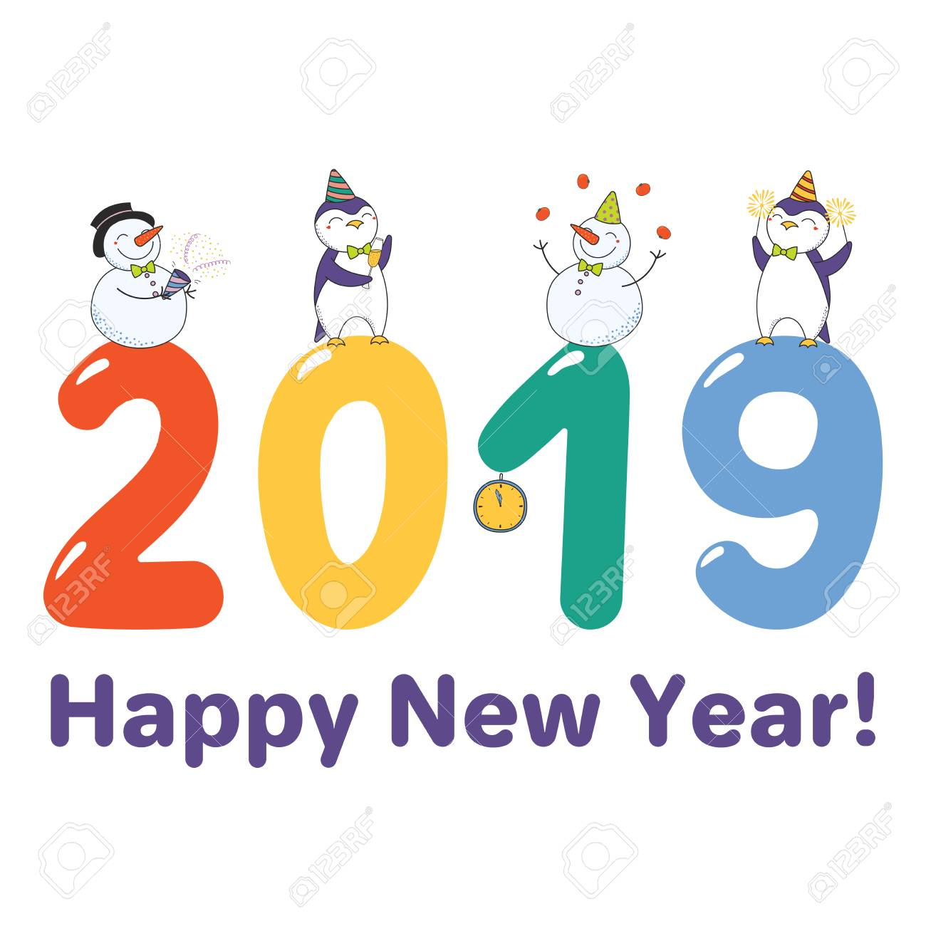 new year 2019 greeting card template with cute funny cartoon penguins and snowmen stock vector
