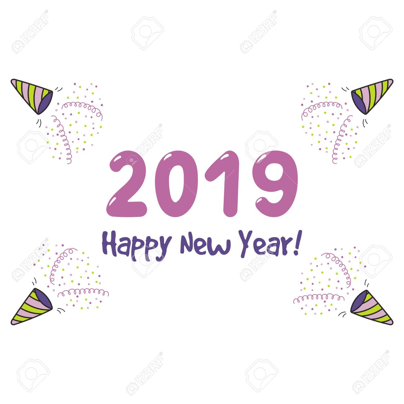 hand drawn happy new year 2019 greeting card banner template with party poppers serpentine