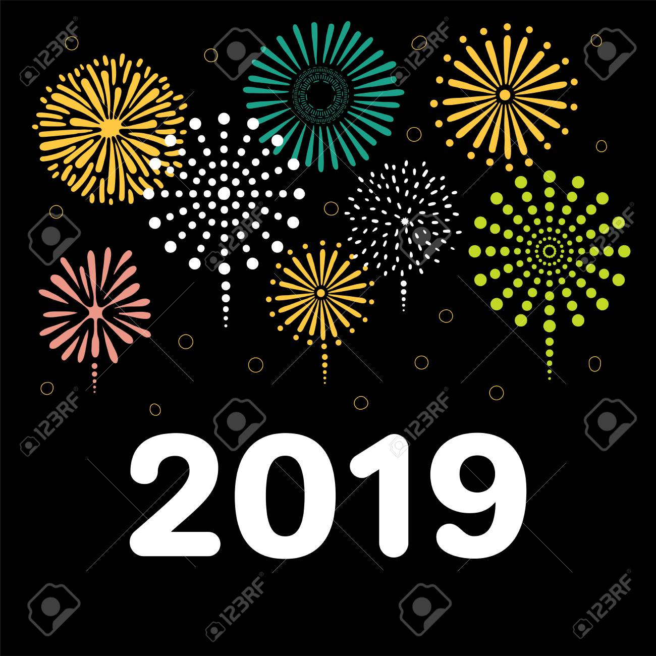 hand drawn new year 2019 greeting card banner template with numbers fireworks isolated
