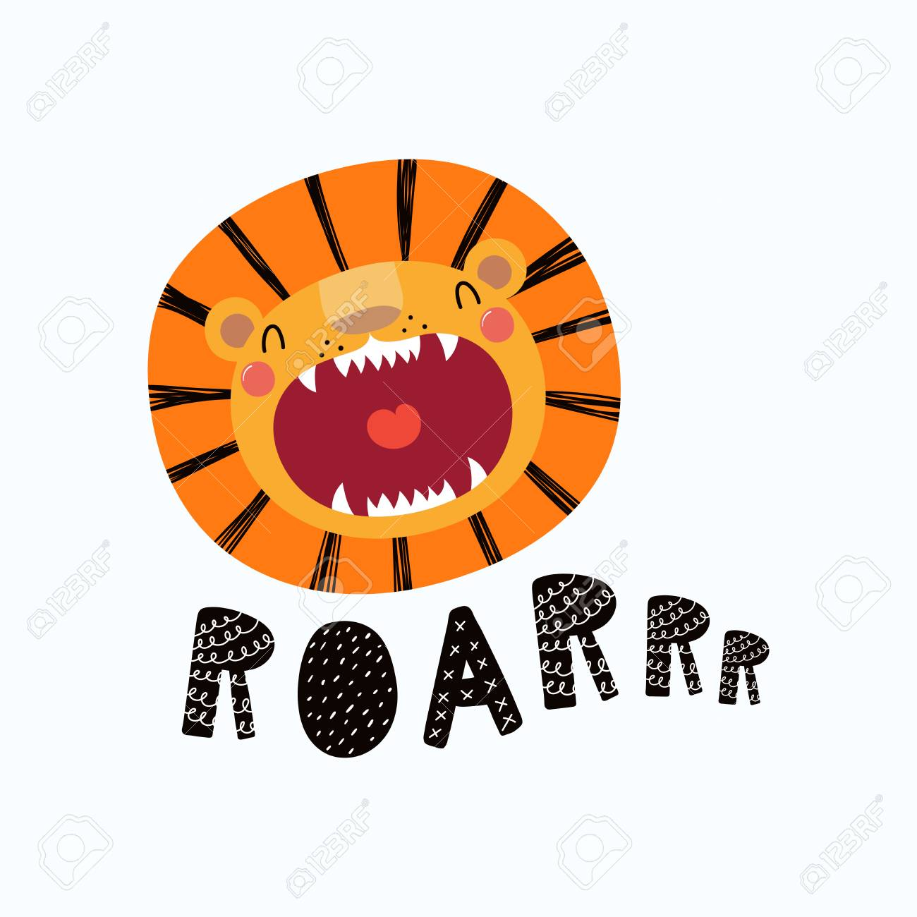 Hand drawn vector illustration of a cute funny lion face with open mouth, lettering quote Roar. Isolated objects. Scandinavian style flat design. Concept for children print. - 98081559