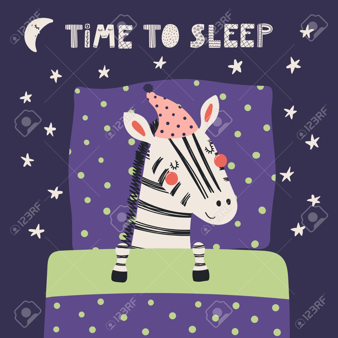 Hand drawn vector illustration of a cute funny sleeping zebra in a nightcap, with pillow, blanket, quote Time to sleep. Isolated objects. Scandinavian style flat design. Concept for children print. - 98629772