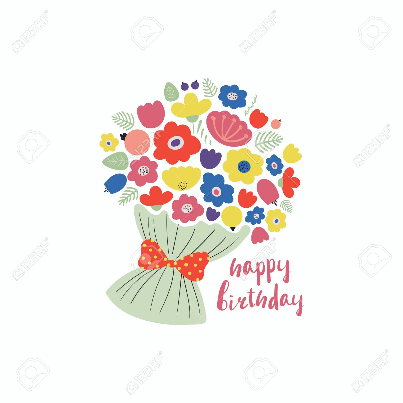 Hand Drawn Vector Illustration Of A Cute Bouquet Of Flowers ...
