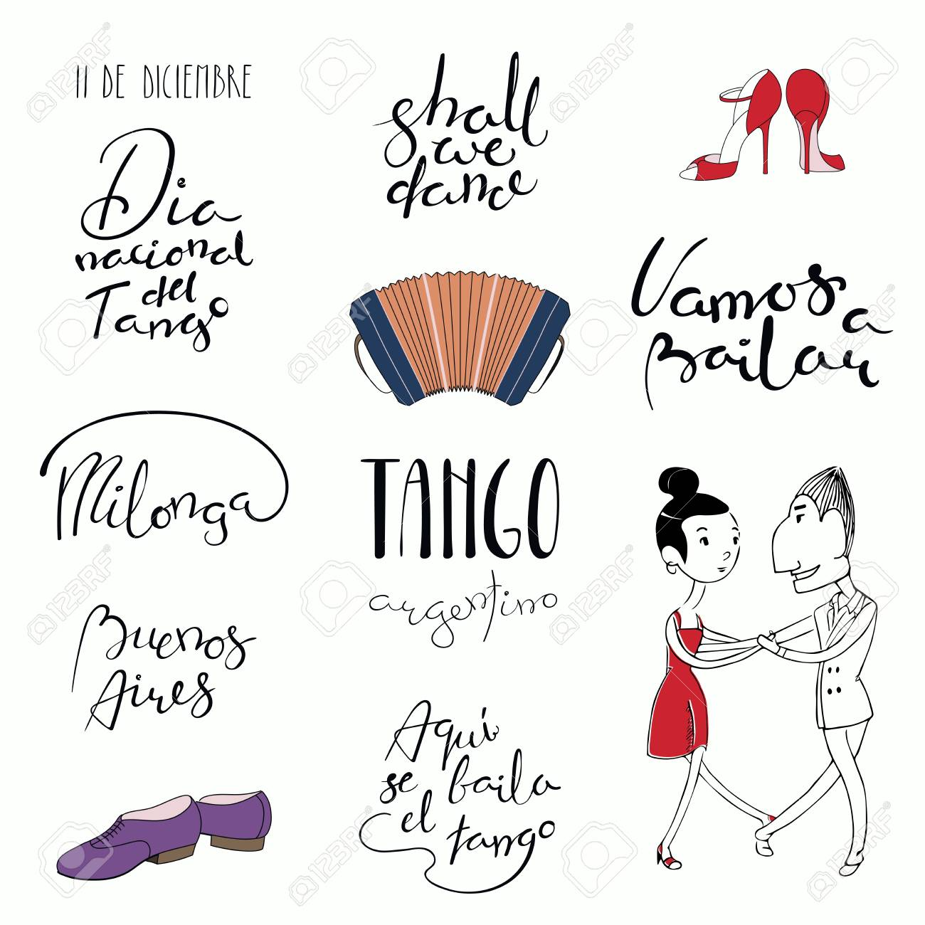 Set Of Hand Written Tango Quotes Design Elements Tr From Spanish