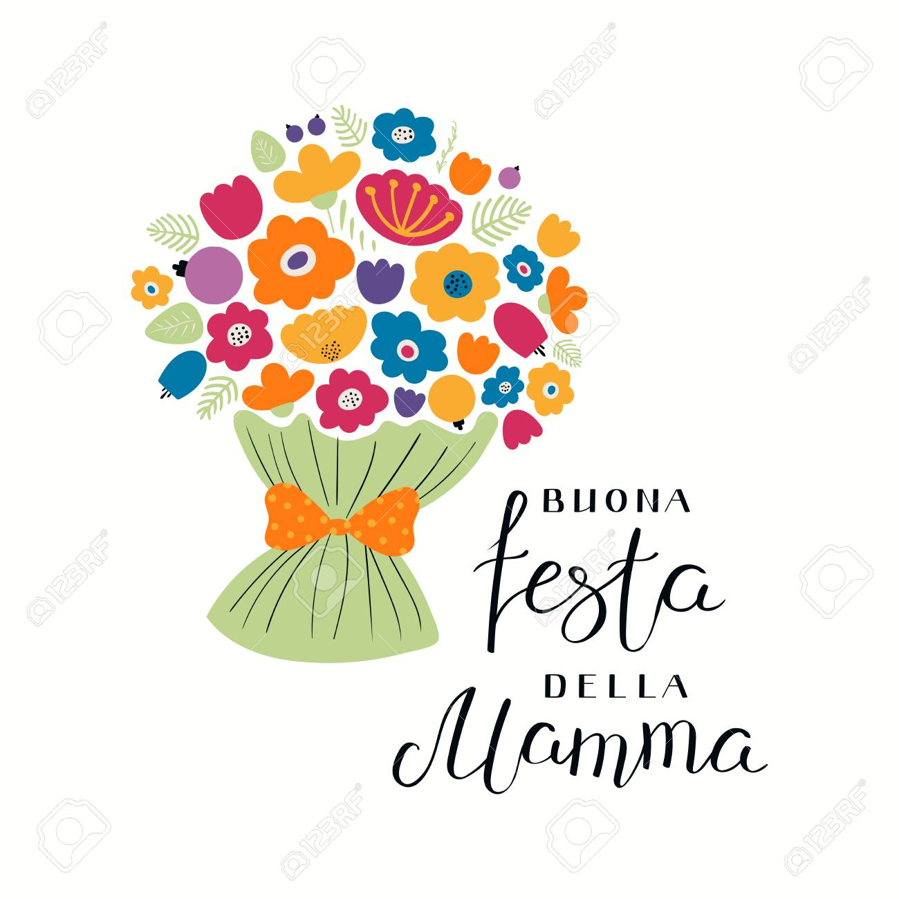 Hand written lettering quote Happy Mothers Day in Italian, Buona festa della mama, with a bouquet flowers. Isolated objects on white. Vector illustration. Design concept for banner, greeting card. - 99736653