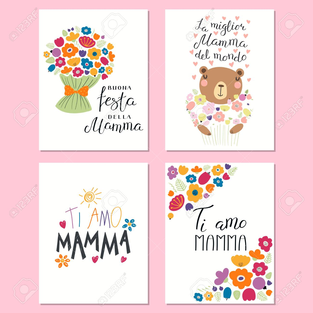 Set Of Mothers Day Cards Templates With Lettering Quotes In