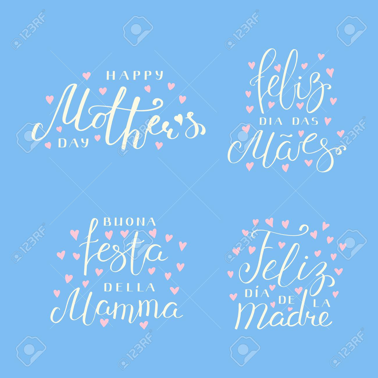 Set of hand written mothers day lettering quotes in spanish english italian portuguese