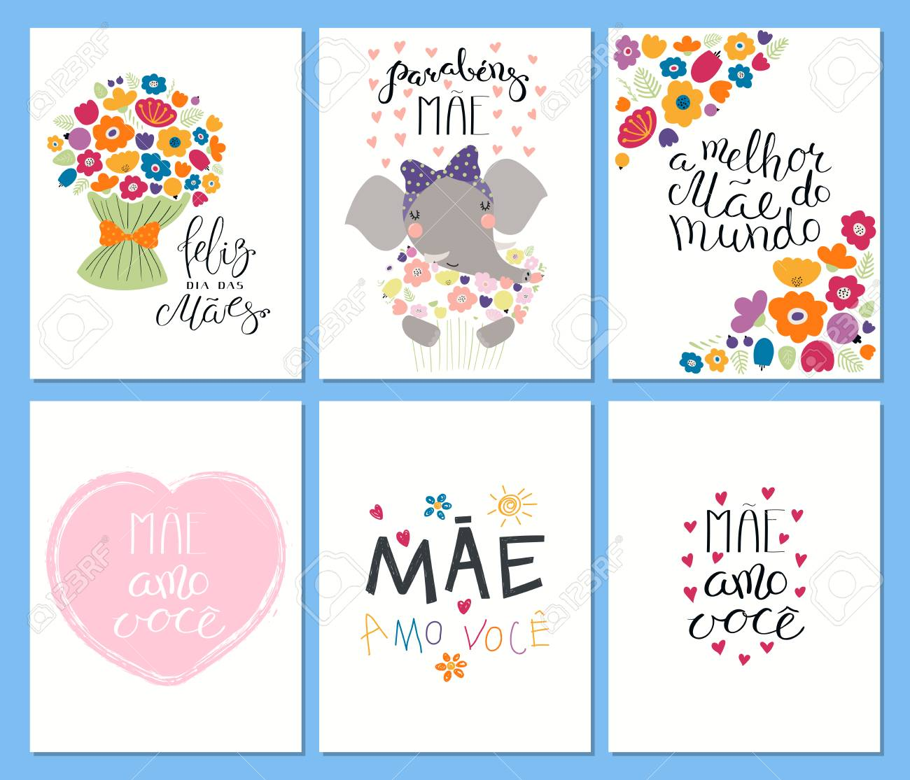 Set Of Mothers Day Cards Templates With Quotes In Portuguese
