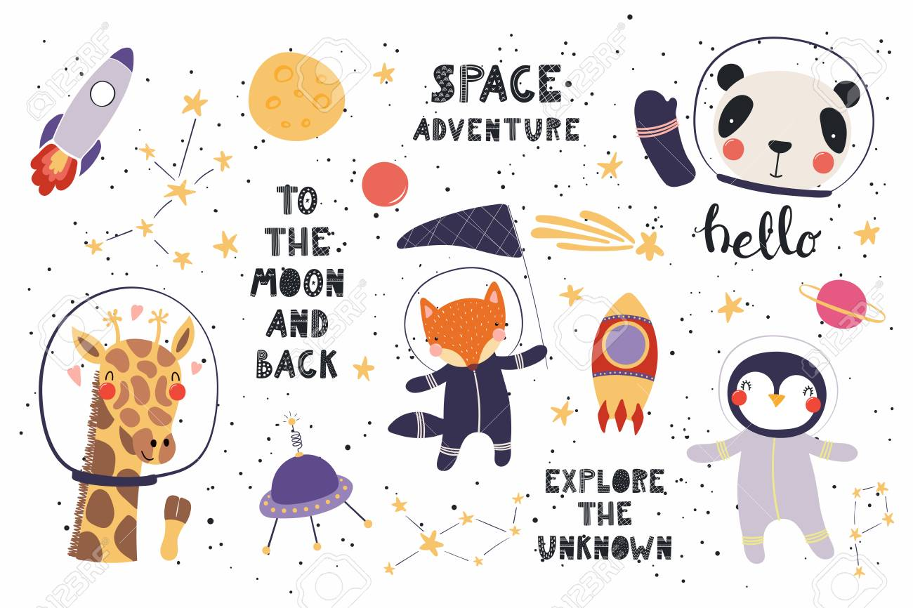 Big set of cute funny animal astronauts in space, with planets, stars, quotes. Isolated objects on white background. Vector illustration. Scandinavian style flat design. Concept for children print. - 100322569