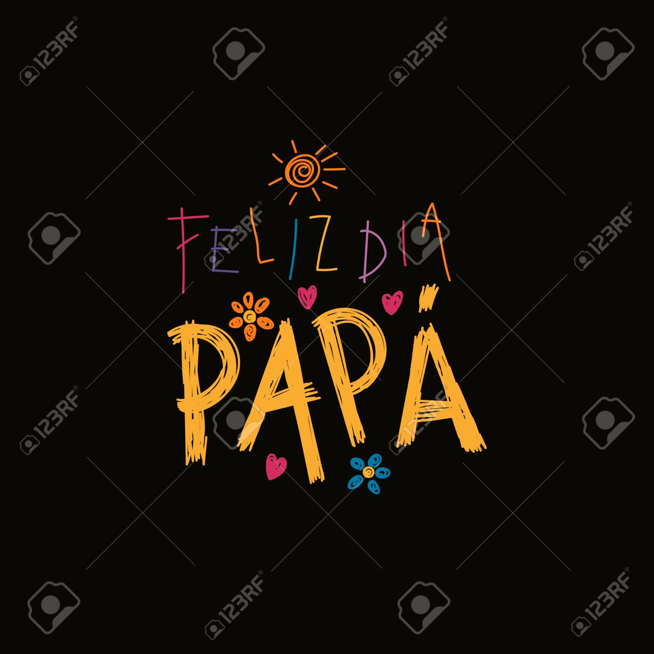 Hand Written Lettering Quote Happy Fathers Day In Spanish, Feliz