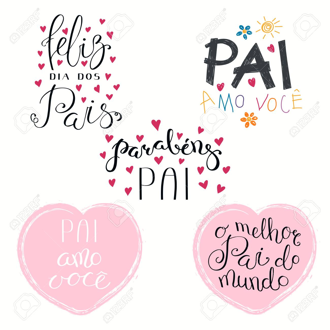 Set of hand written Fathers Day lettering quotes, with hearts,..