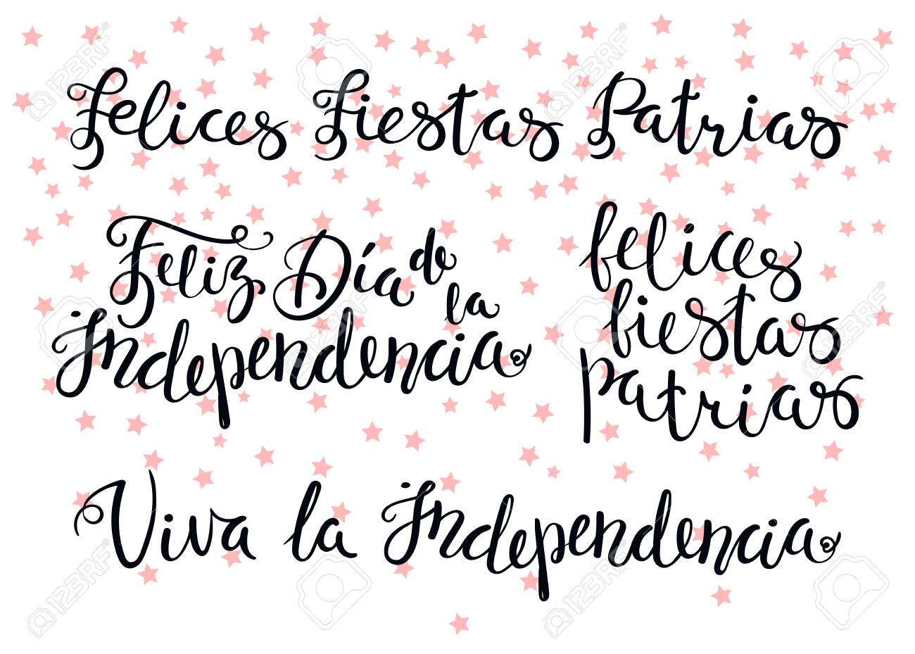 Hand Written Calligraphic Portuguese Spanish Quotes For Patriotic