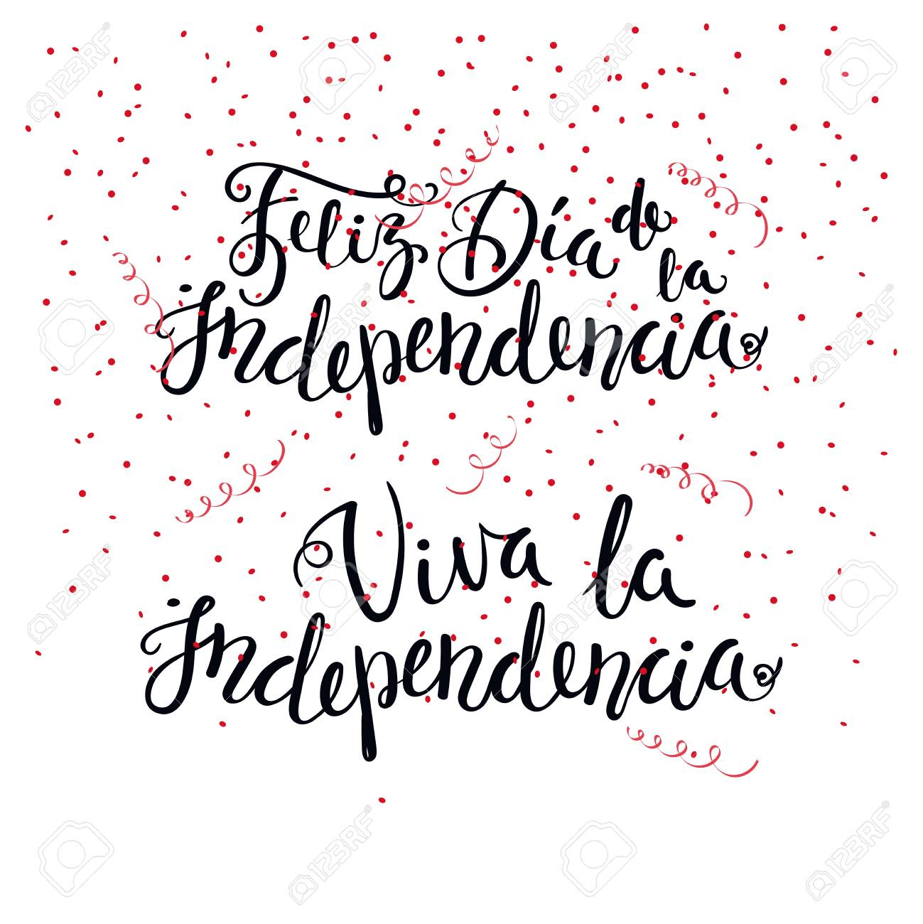Hand Written Calligraphic Spanish Lettering Quotes For Independence