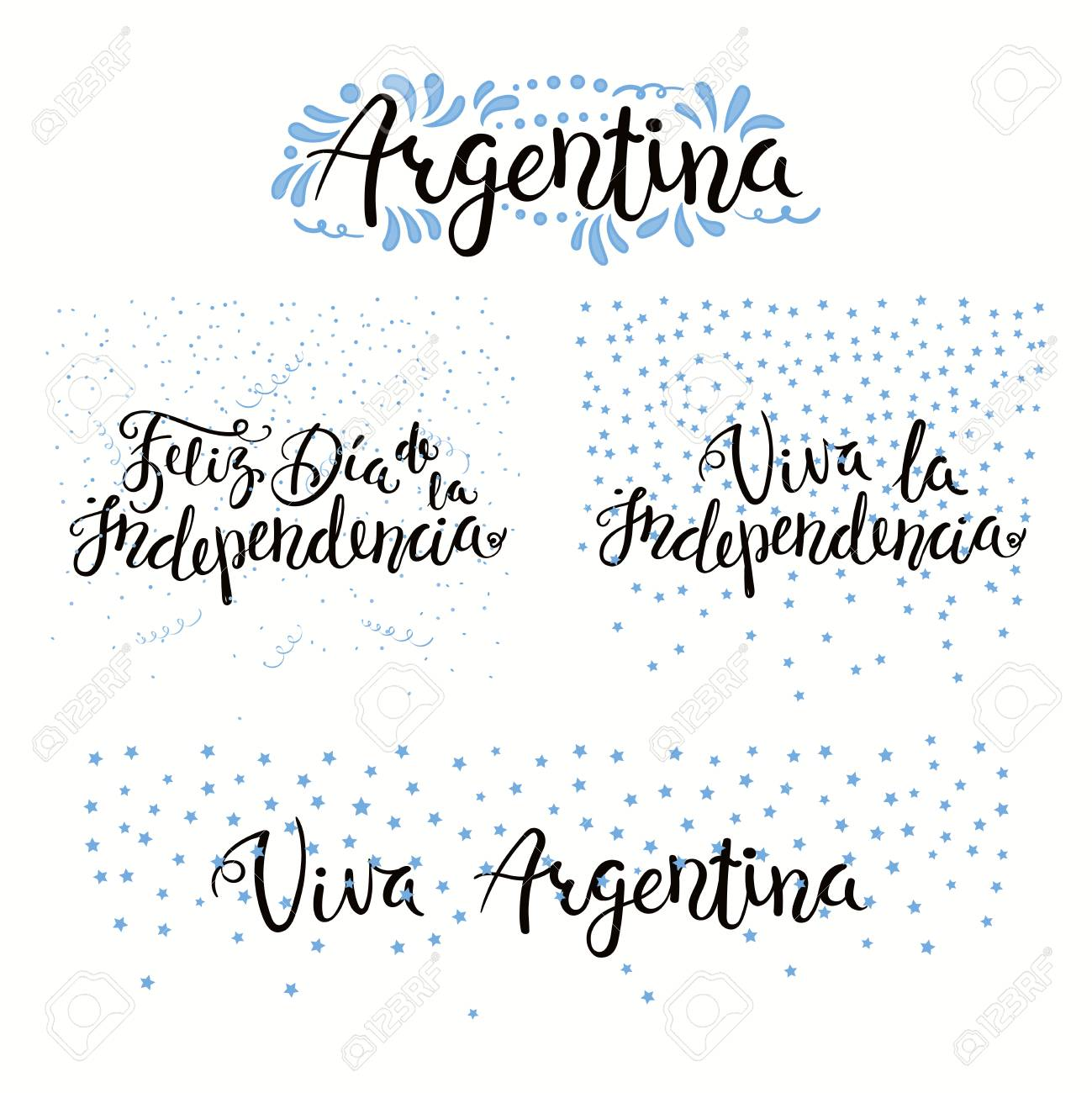 Set Of Hand Written Calligraphic Spanish Lettering Quotes For