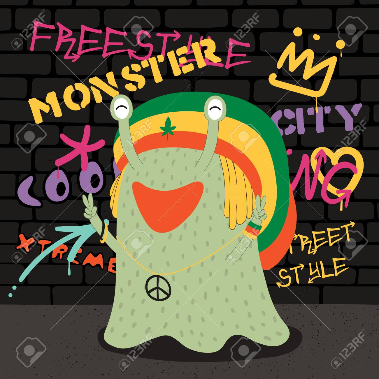 Photo stock vector hand drawn vector illustration of a cute funny monster in a rasta hat