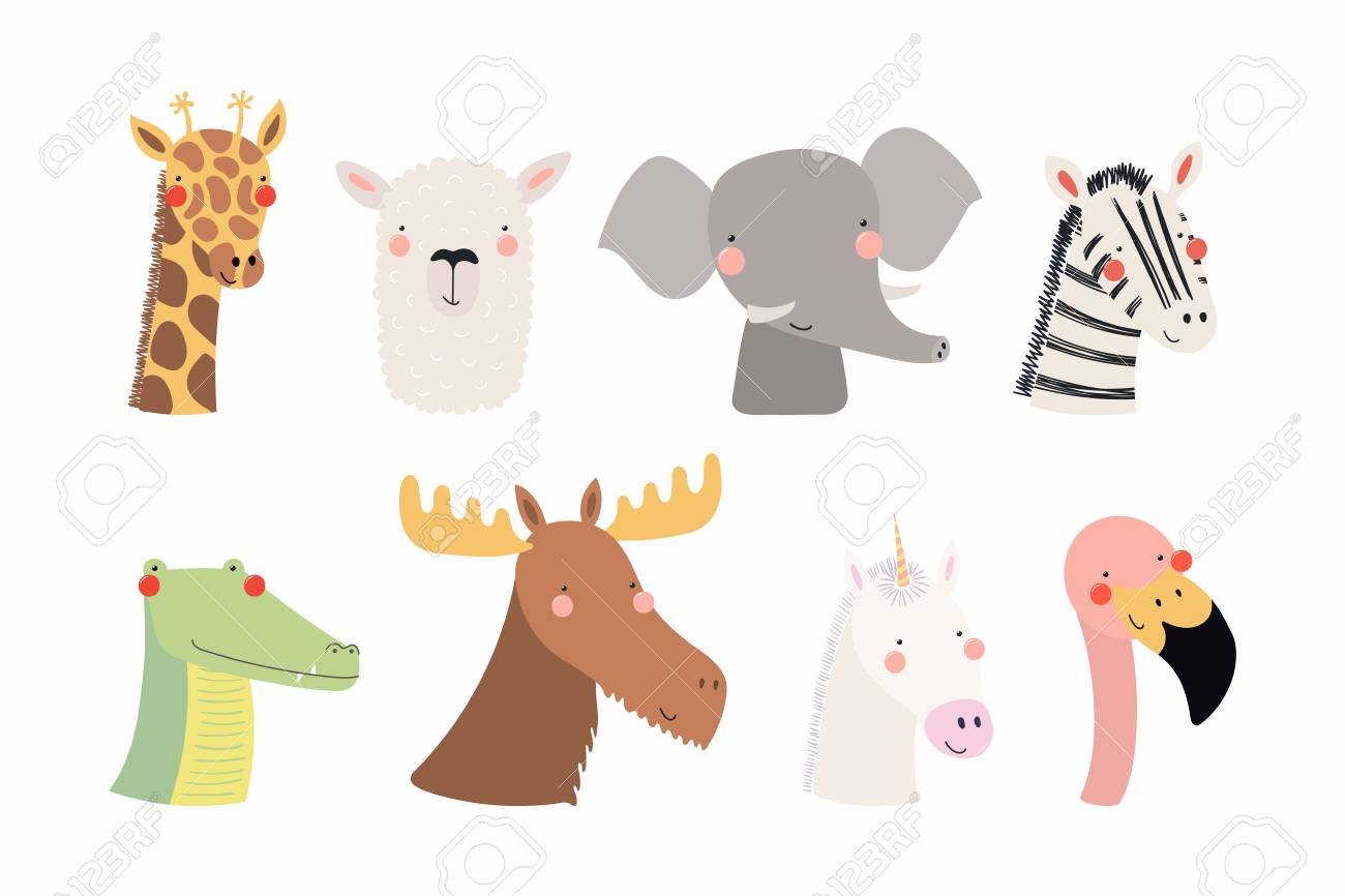 Set of cute funny animals unicorn, zebra, llama, flamingo, giraffe, moose, crocodile, elephant. Isolated objects on white . Vector illustration. Scandinavian style flat design Concept children print - 102161080