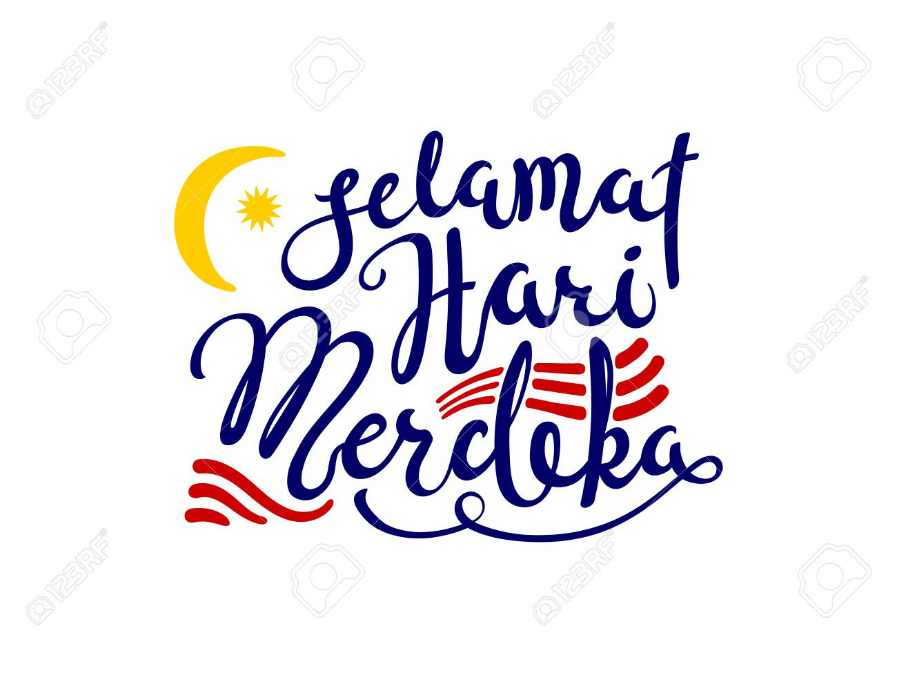 Hand written calligraphic lettering quote Selamat Hari Merdeka, meaning Happy Independence Day in Malay. Isolated objects on white background. Vector illustration. Design concept for banner, card. - 102934176