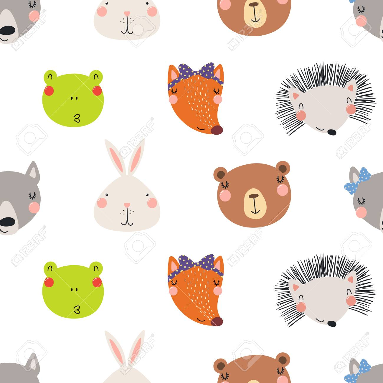 Hand drawn seamless vector pattern with different cute woodland animals faces, on a white background