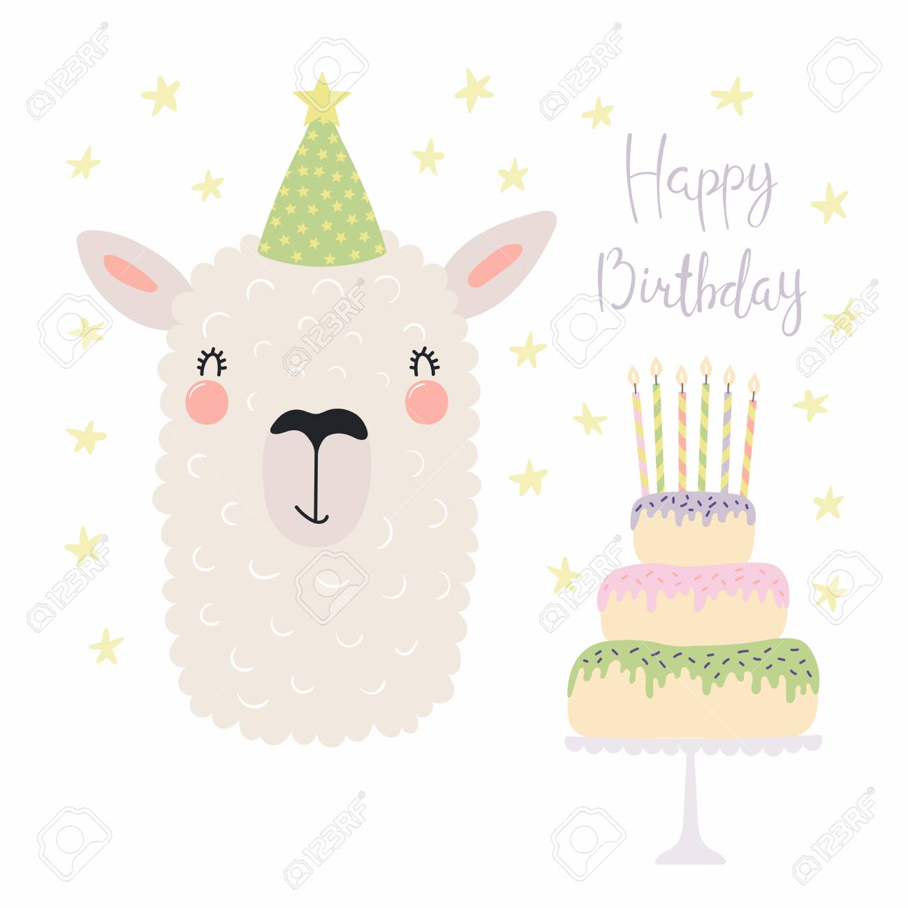 Hand Drawn Birthday Card With Cute Funny Llama In A Party Hat Cake Candles
