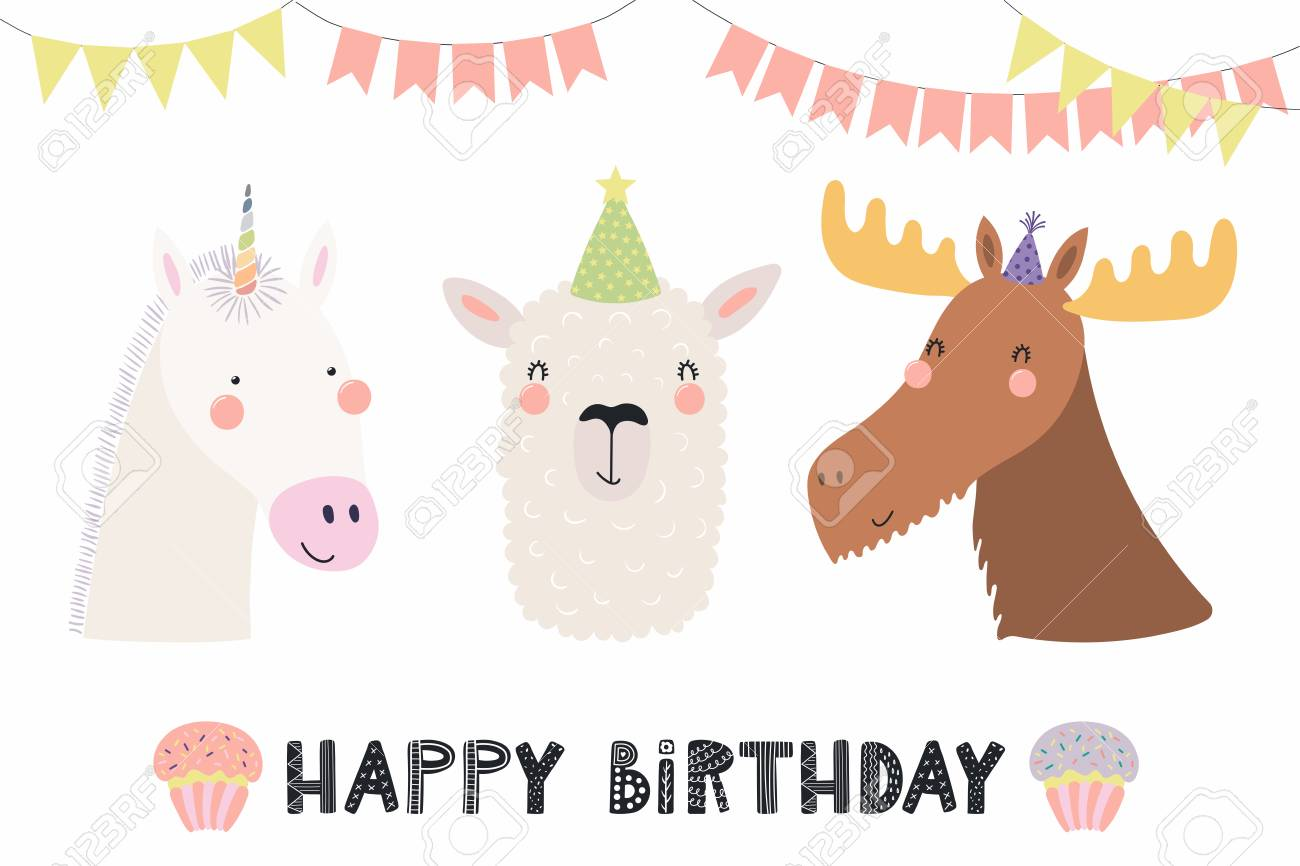Hand Drawn Birthday Card With Cute Funny Unicorn Llama Moose In Party Hats