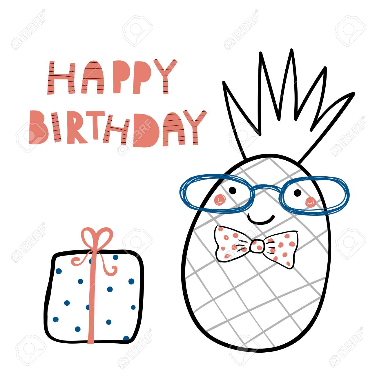 Hand Drawn Birthday Card With Cute Funny Pineapple In A Bow Tie Present Lettering