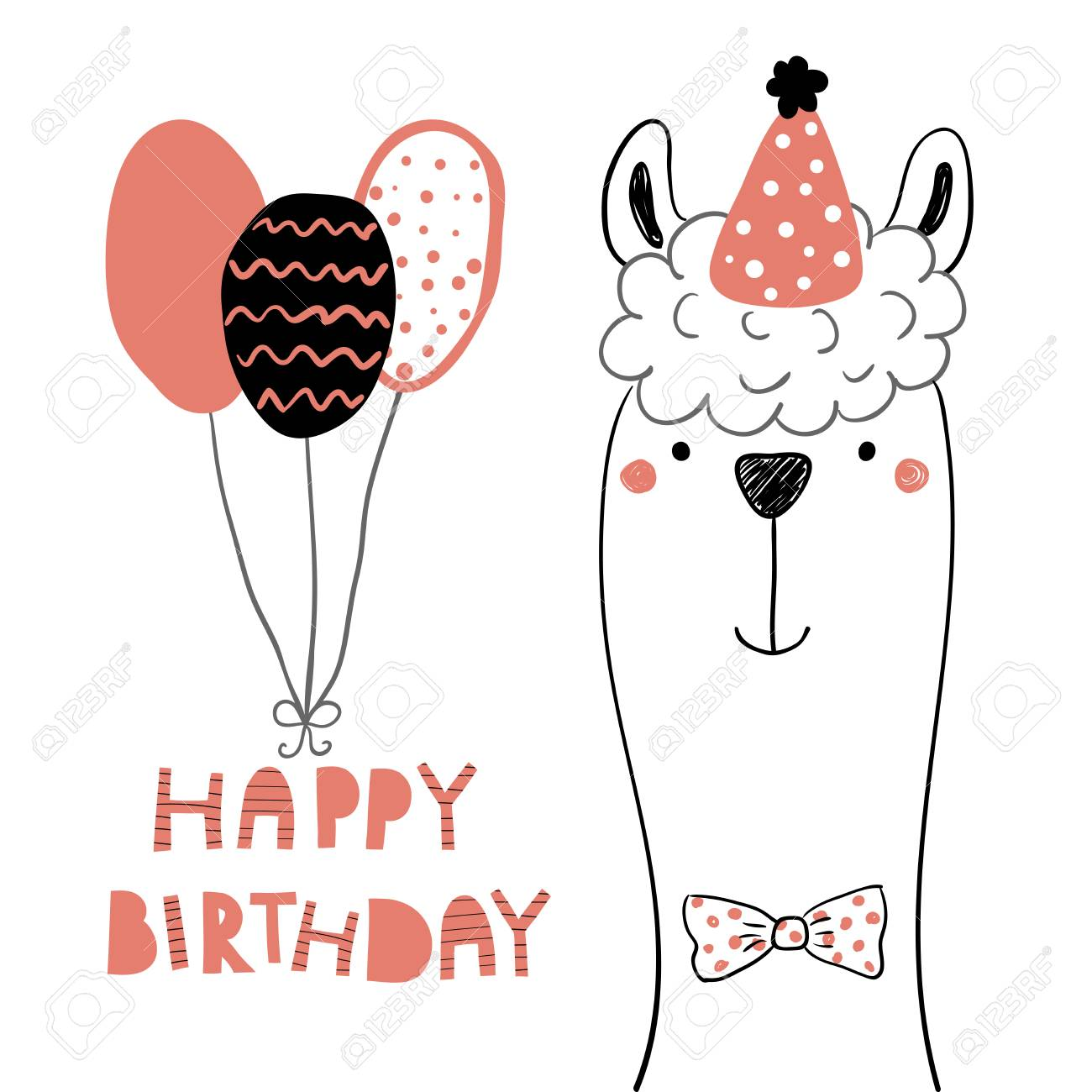 Hand Drawn Birthday Card With Cute Funny Llama In A Party Hat Balloons Lettering