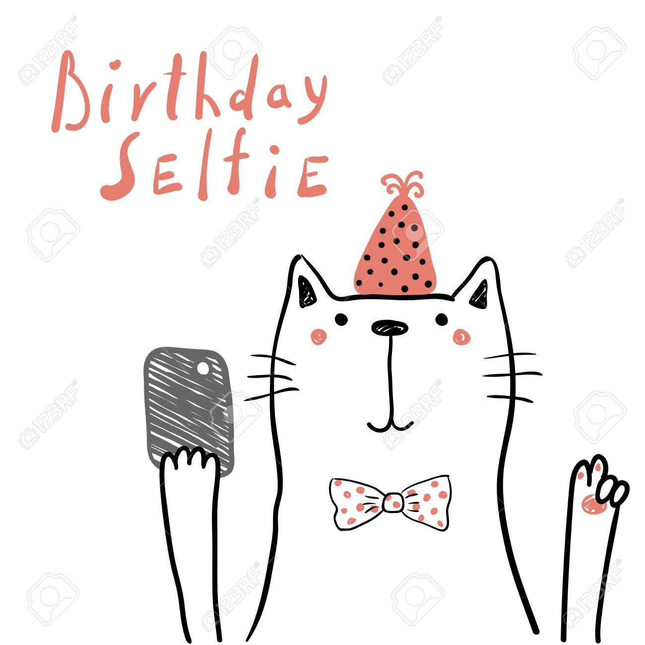 image relating to Cat Birthday Card Printable called Hand drawn birthday card with adorable amusing cat in just a bash hat,..