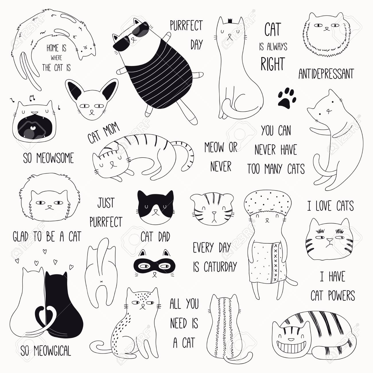 db4a99ee56 Set of cute funny black and white doodles of different cats and quotes.  Isolated objects