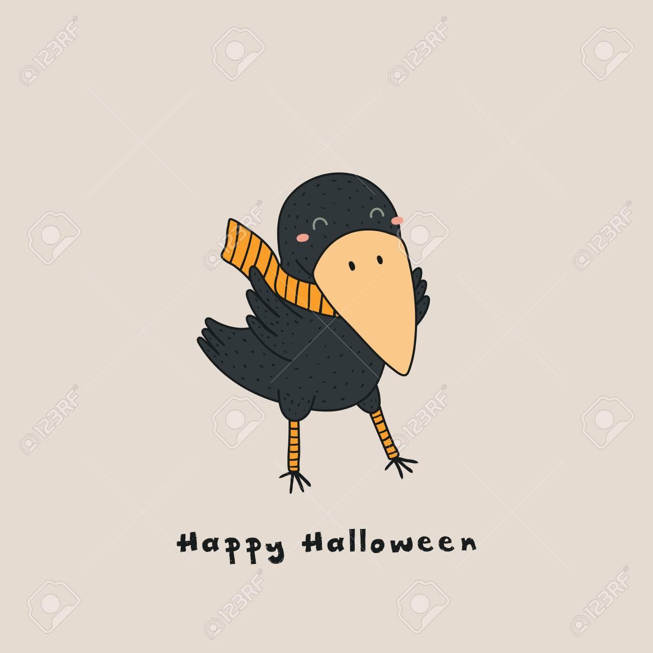 Hand Drawn Vector Illustration Of A Kawaii Funny Crow In A Muffler