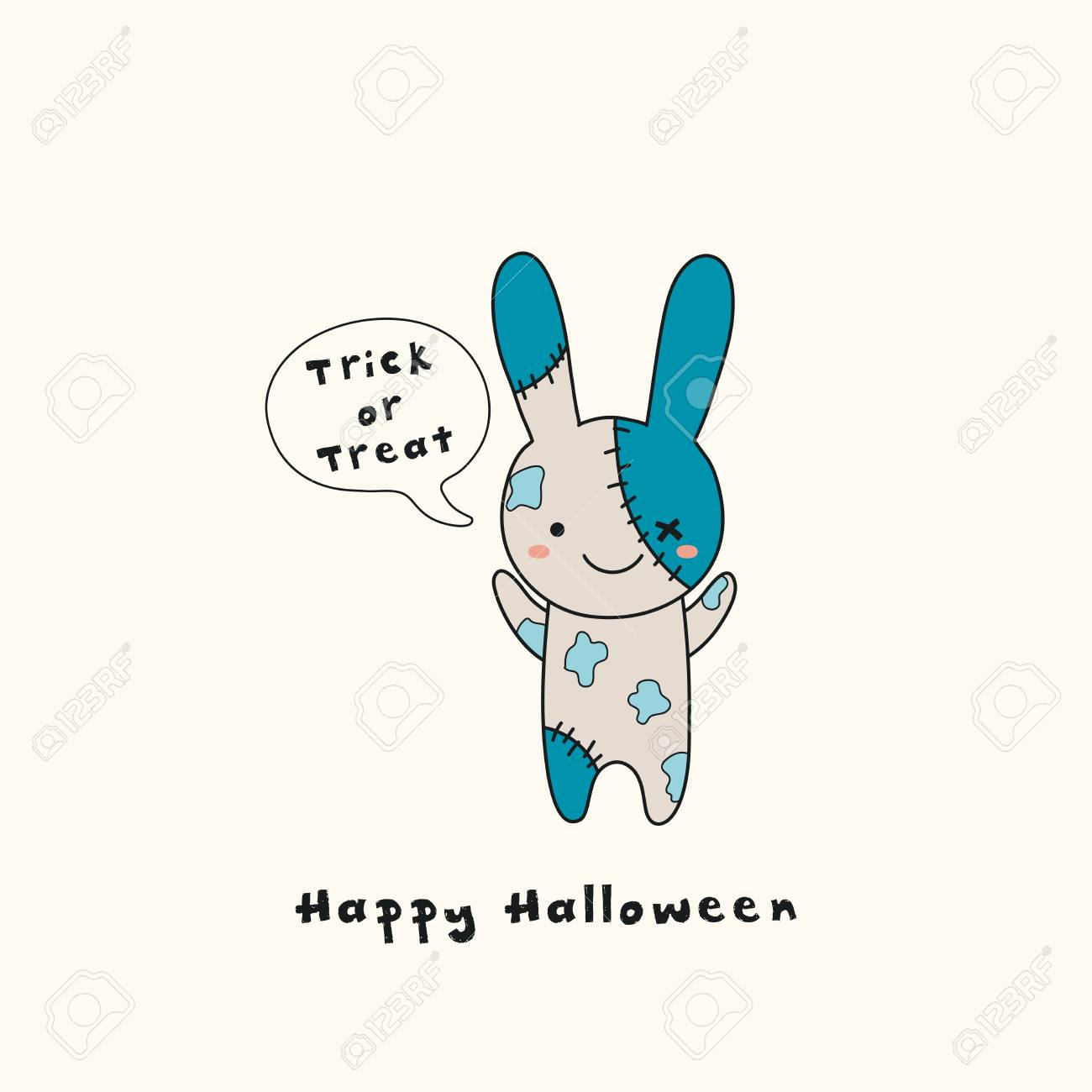 Hand Drawn Vector Illustration Of A Kawaii Funny Zombie Bunny
