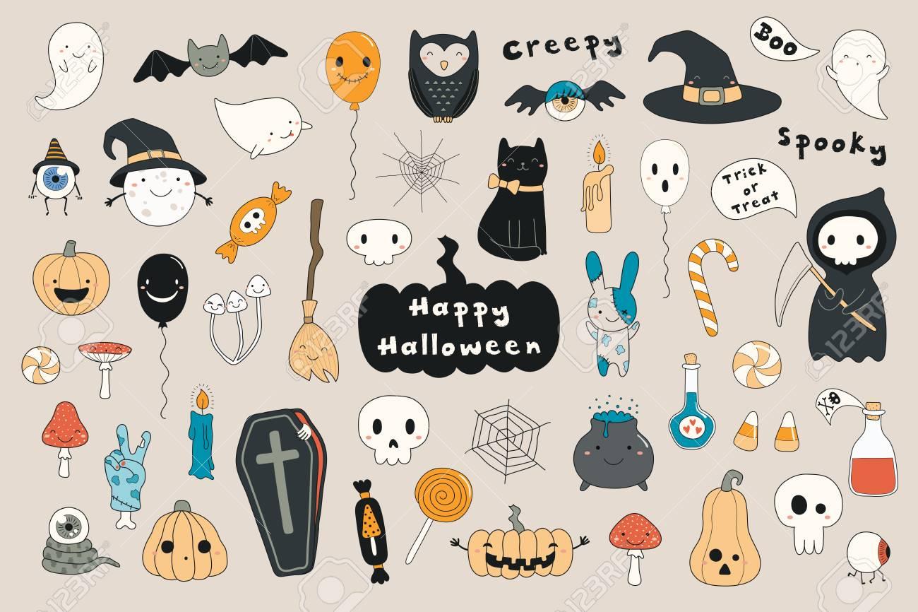 Big Set Of Kawaii Funny Halloween Elements With Text Pumpkins