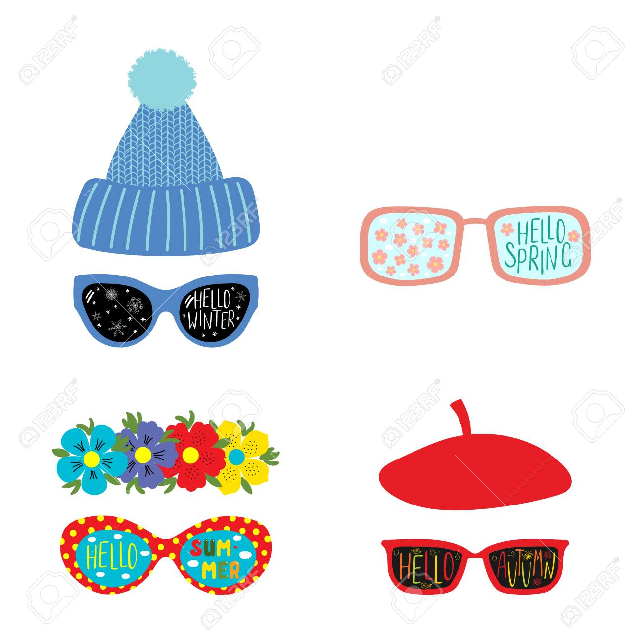 aeeb368a97 Concept four seasons. Set of hand drawn vector illustrations of sunglasses  with summer