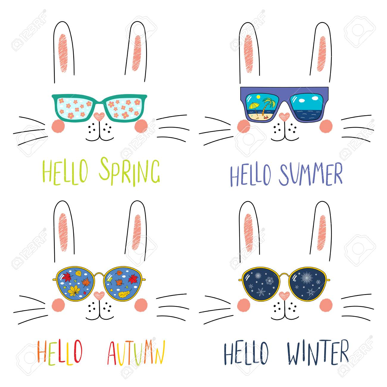 1509c9a6d7 Concept four seasons. Set of cute bunny faces in sunglasses with summer