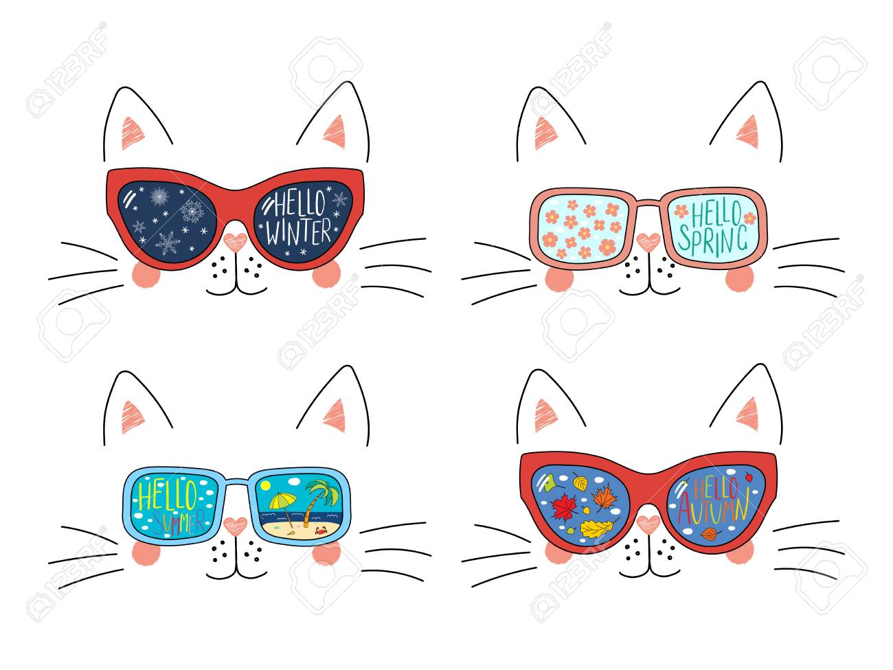 Set Of Cute Cat Faces In Sunglasses With Summer Autumn Winter Royalty Free Cliparts Vectors And Stock Illustration Image 113572947
