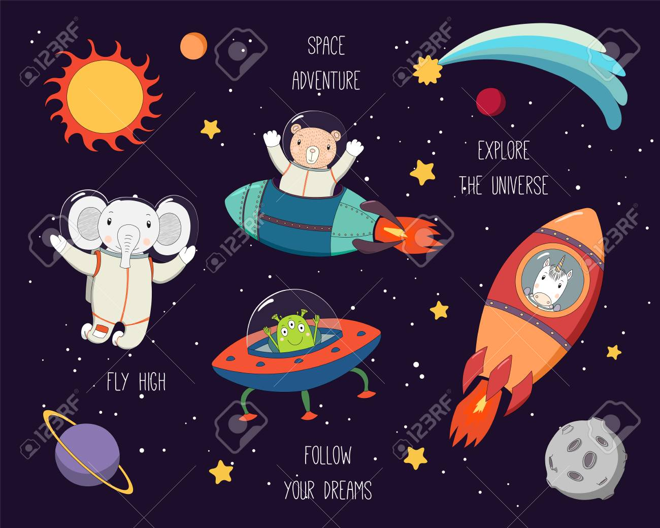 Set of cute funny elephant, bear, unicorn astronauts, alien in space, with planets, stars, quotes. Hand drawn vector illustration. Line drawing. Design concept for children print. - 112881261