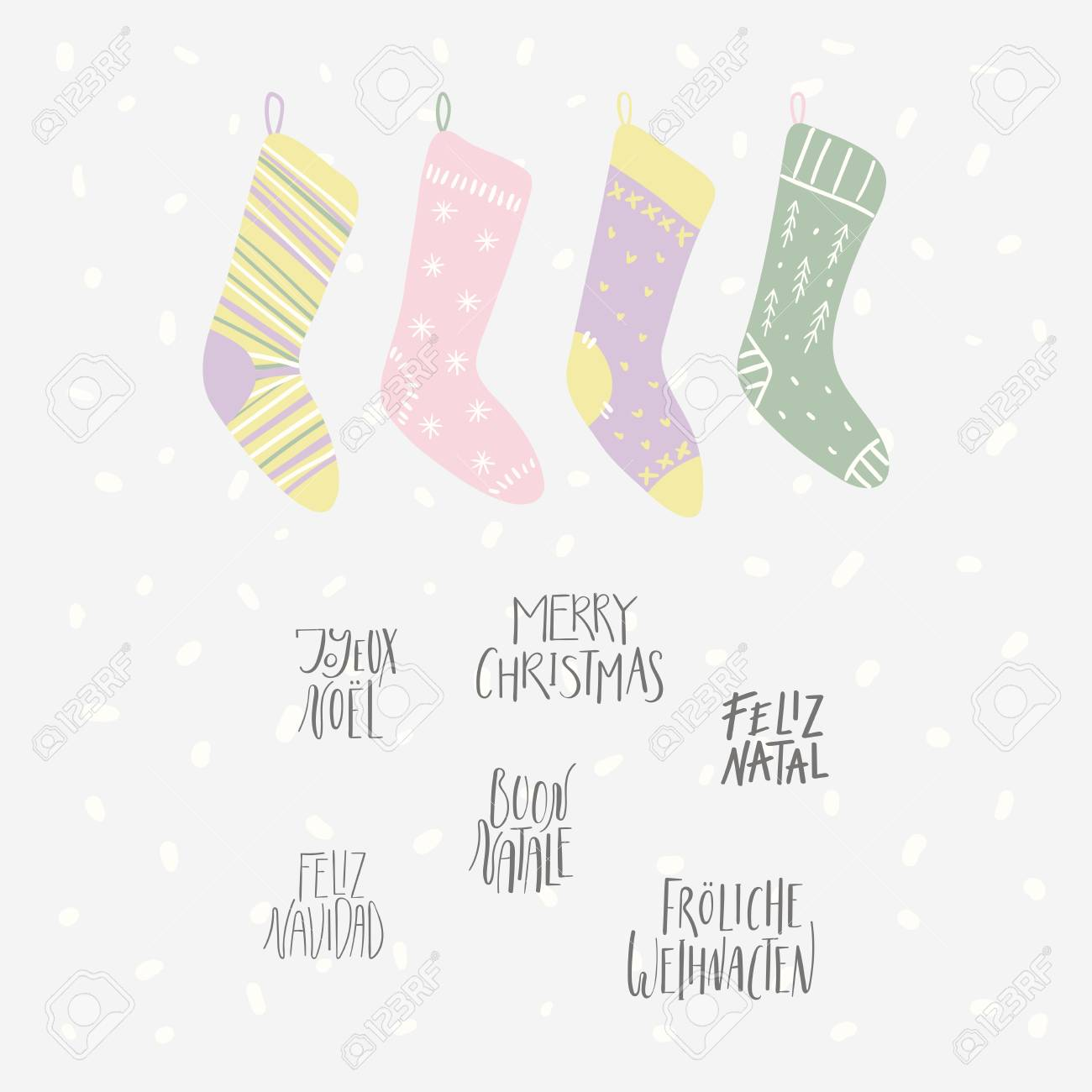 Hand drawn vector illustration of cute Christmas stockings, with..
