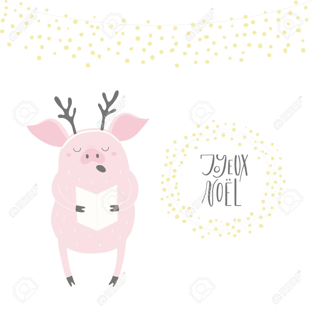 Joyeux Noel Clipart.Hand Drawn Vector Illustration Of A Cute Funny Singing Pig With