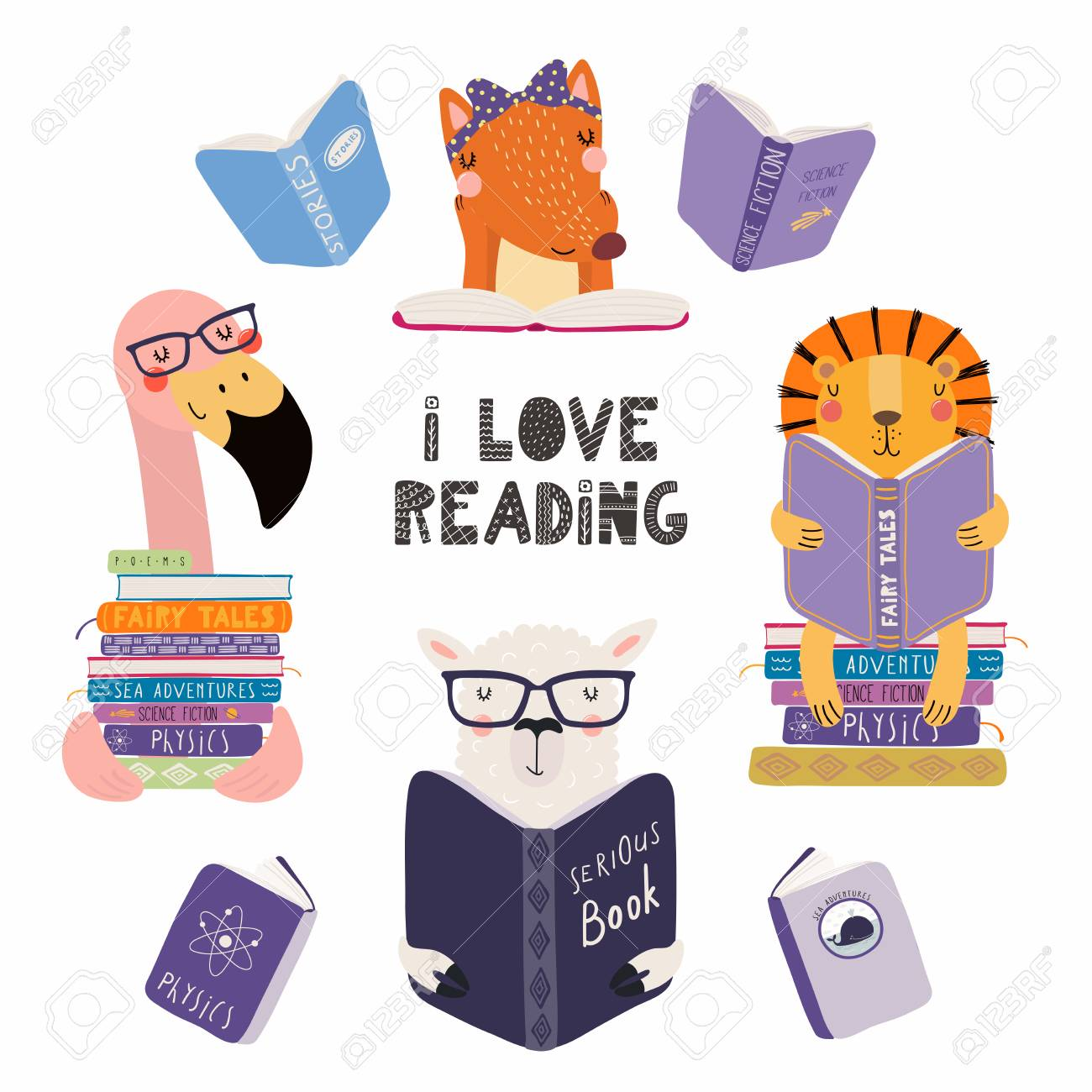 Set of cute funny animals with books, lion, llama, flamingo, fox, with quote. Isolated objects on white background. Hand drawn vector illustration. Scandinavian style flat design. Concept kids print. - 111889312
