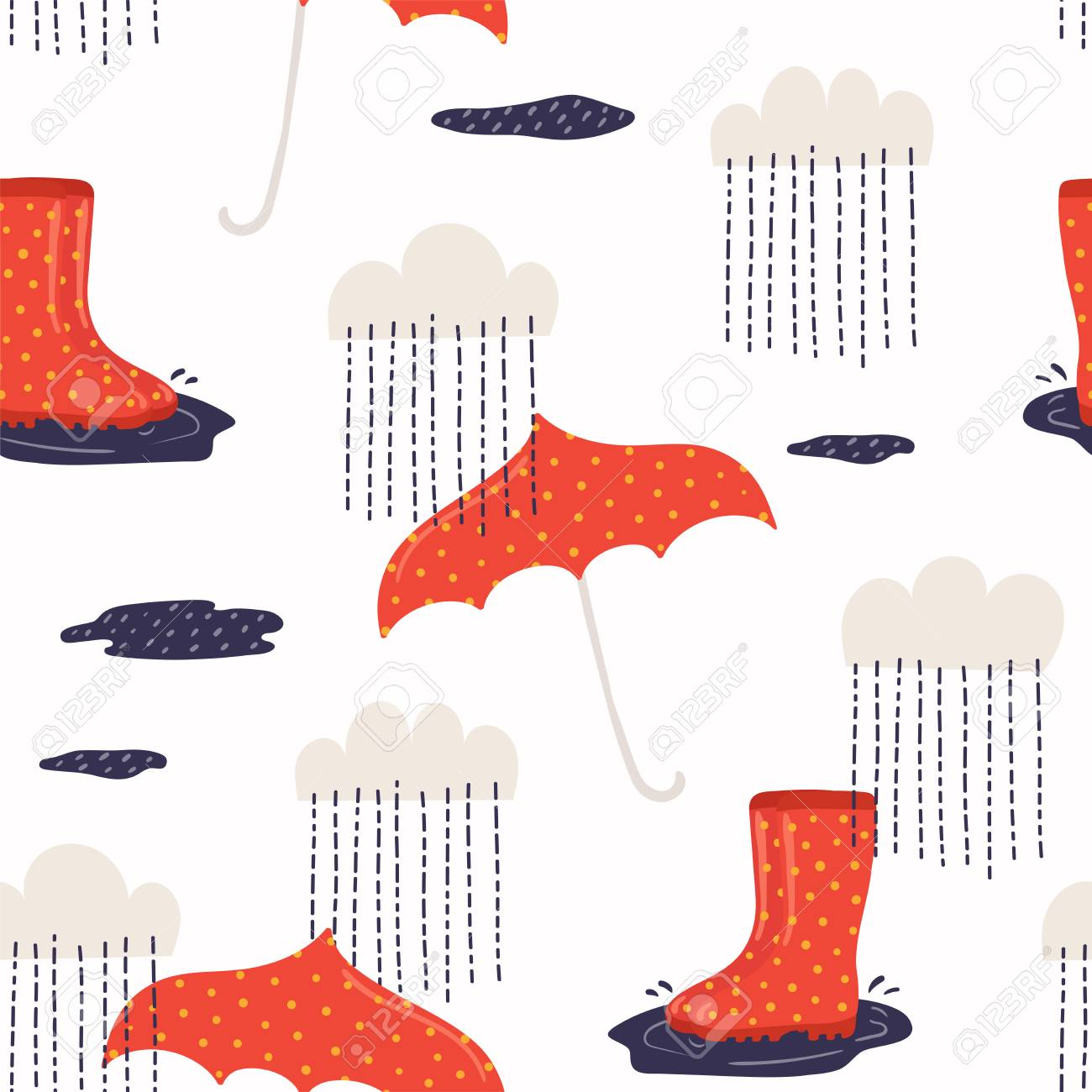 photograph about Umbrella Pattern Printable Free referred to as Seamless repeat behavior with wellington boots, umbrella, rain,..