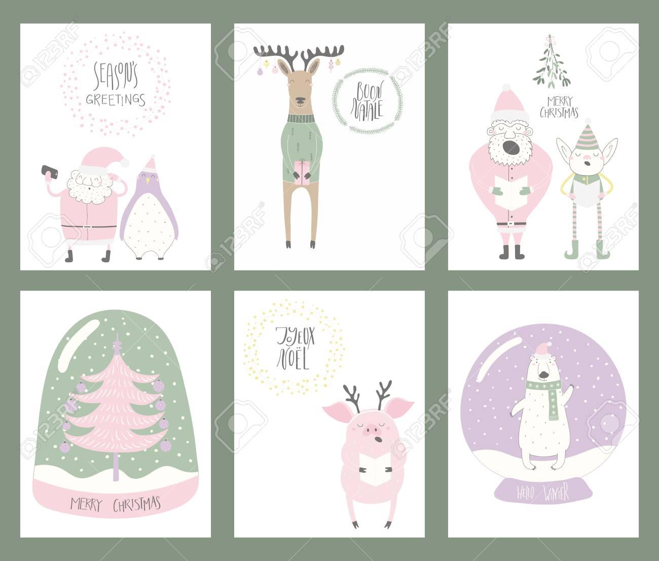 Set Of Christmas Cards With Cute Funny Cartoon Santa Claus, Elf ...