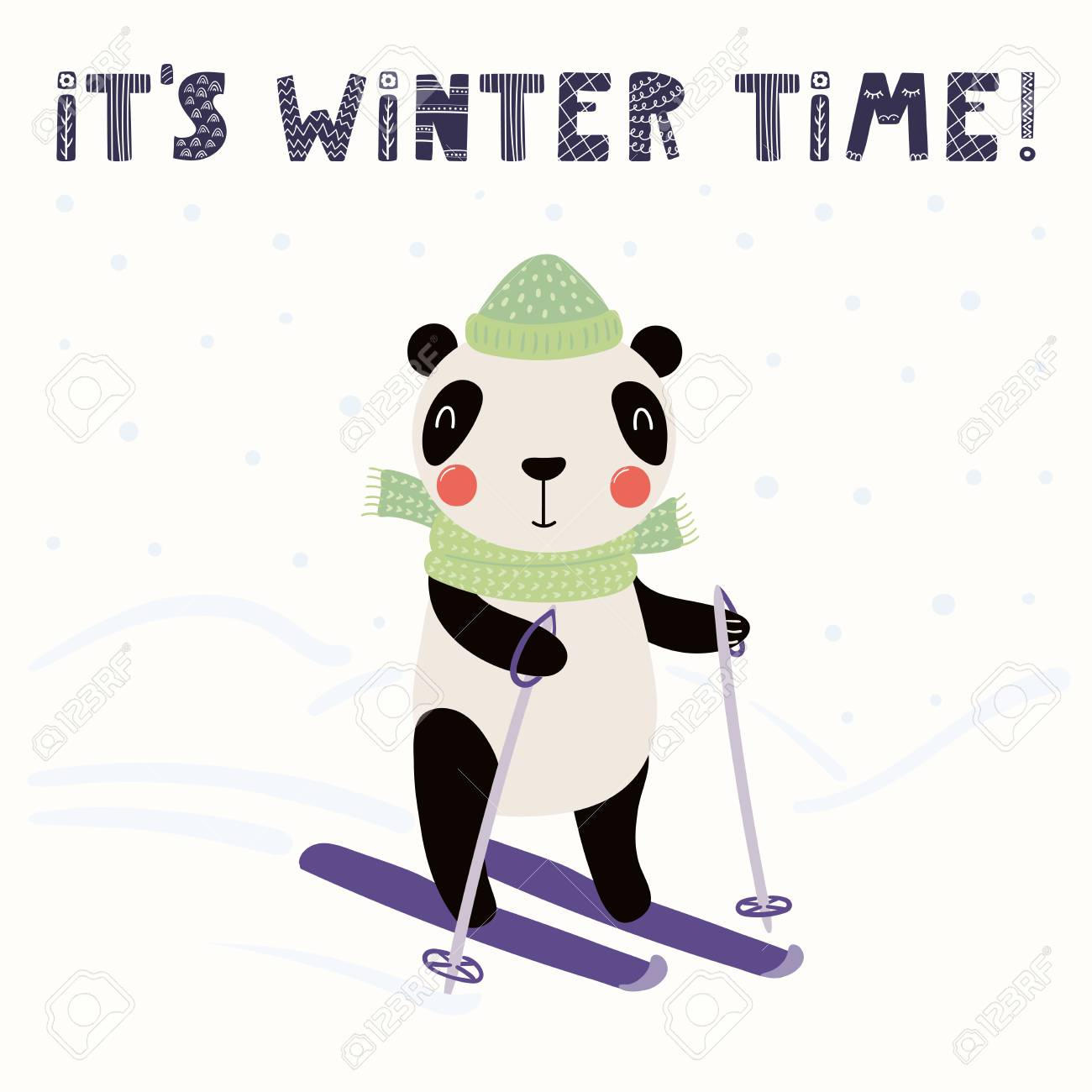 Hand drawn vector illustration of a cute funny panda skiing outdoors