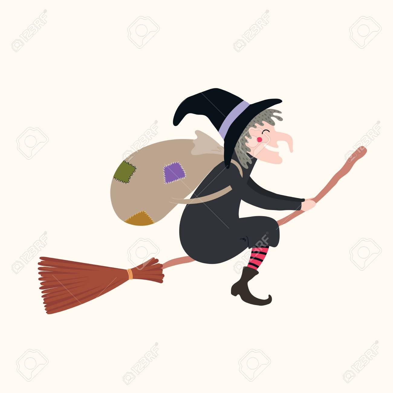 Hand drawn vector illustration of a witch with sack flying on broomstick. Isolated objects on white background. Flat style design. Italy Christmas tradition. Concept, element for Epiphany card, banner - 111355728