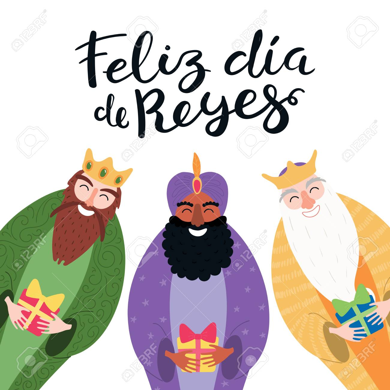 Hand drawn vector illustration of three kings with gifts, Spanish quote Feliz Dia de Reyes, Happy Kings Day. Isolated objects on white. Flat style design. Concept, element for Epiphany card, banner. - 112881452