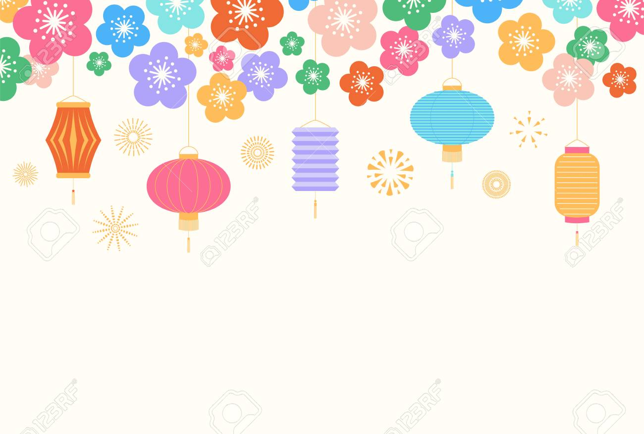 chinese new year background with lanterns and flowers on white royalty free cliparts vectors and stock illustration image 113573168 chinese new year background with lanterns and flowers on white