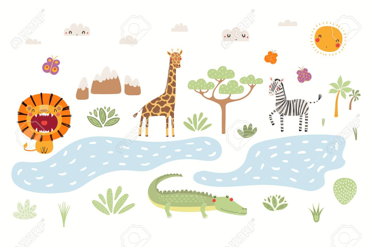 Hand drawn vector illustration of cute animals lion, zebra, crocodile, giraffe, African landscape. Isolated objects on white background. Scandinavian style flat design. Concept for children print. - 117371696